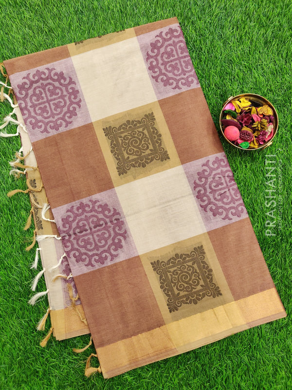 Handloom Cotton Saree multi colour checkes with thread woven buttas checked pattern and zari border