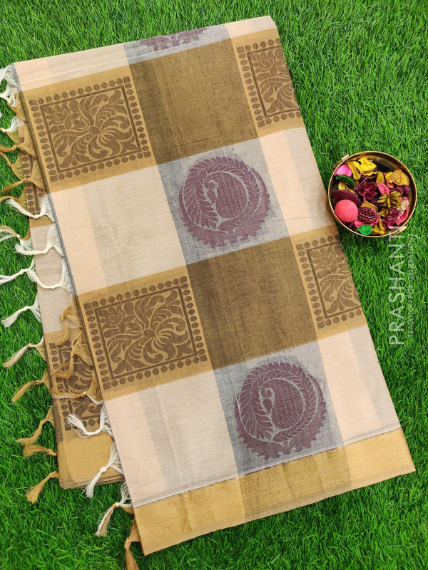 Handloom Cotton Saree beige and grey with thread woven buttas checked pattern and zari border