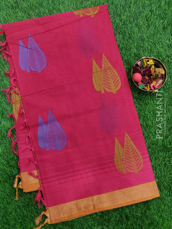 Handloom Cotton Saree dark pink with thread woven leaf buttas and simple zari border