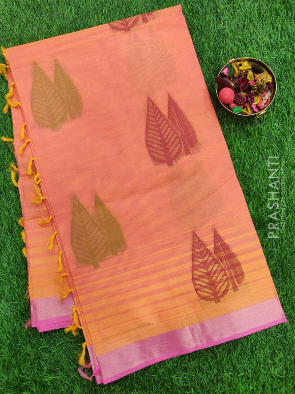 Handloom Cotton Saree dual shade of peach and pink with thread woven leaf buttas and simple zari border