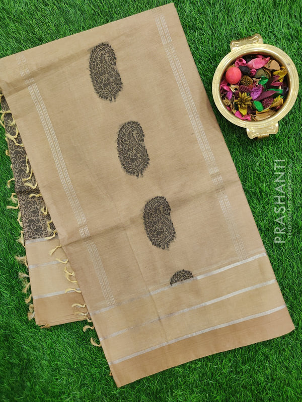 Handloom Cotton Saree beige with thread and zari woven buttas in borderless style