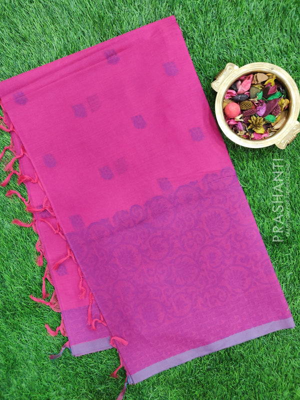 Handloom Cotton Saree magenta pink with thread weaves in borderless style