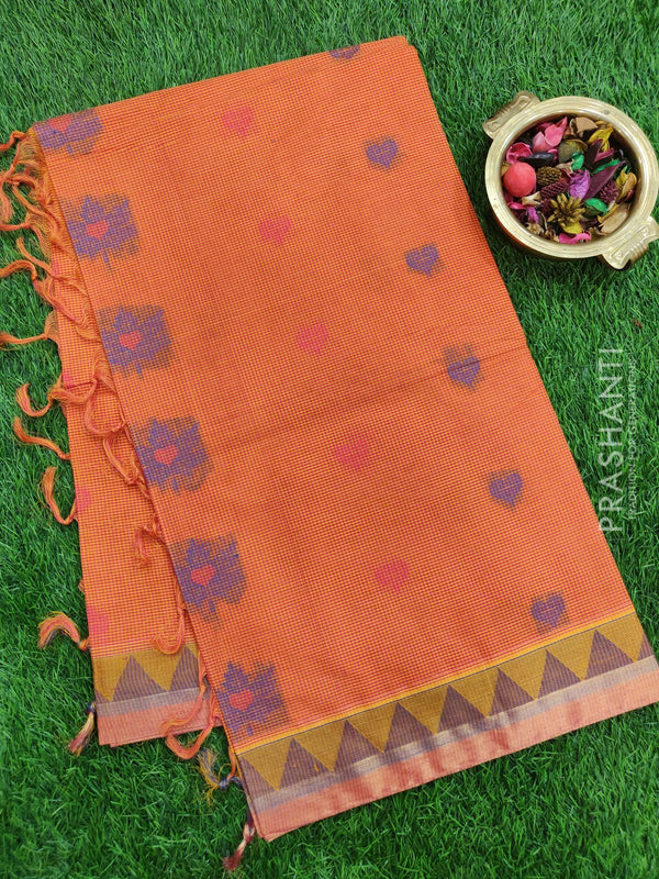 Handloom Cotton Saree orange with thread woven buttas checked pattern and zari border