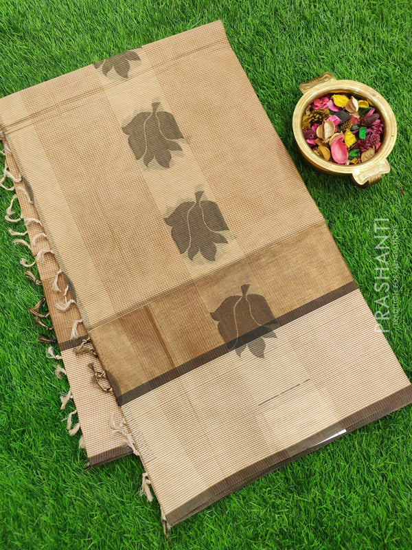 Handloom Cotton Saree beige with thread woven buttas checked pattern in borderless style