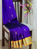 Silk Cotton Saree violet and yellow korvai with traditional zari border and body buttas