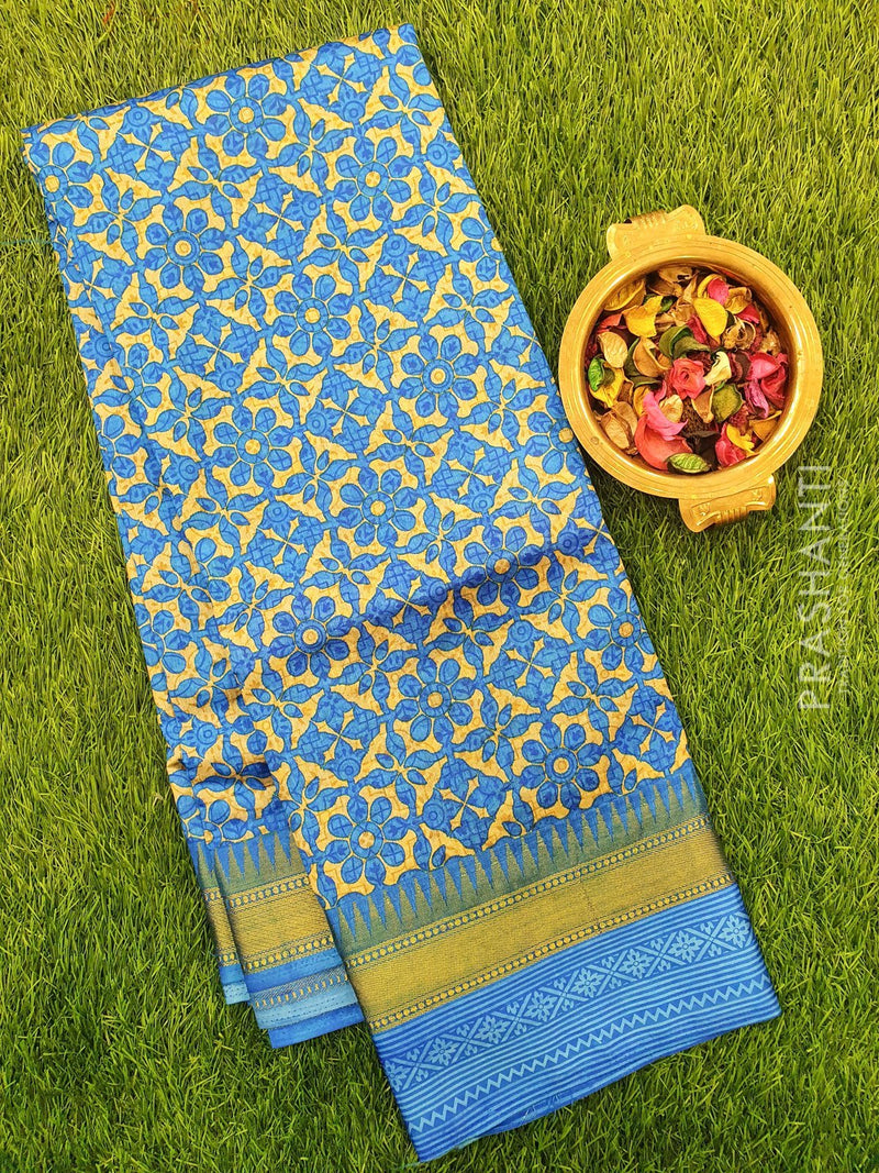 Semi Raw silk saree beige and blue with floral prints and golden zari border