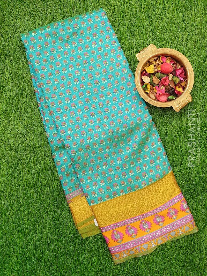 Semi Raw silk saree teal green and yellow with floral prints and golden zari printed border