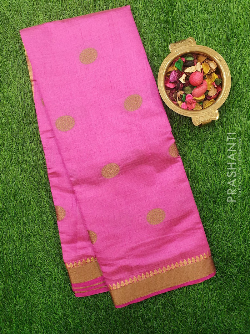 Semi Raw silk saree pink with thread buttas and border