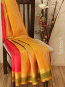 Pure Kanjivaram Silk Saree red and mustard yellow with plain body and golden zari rettapet border