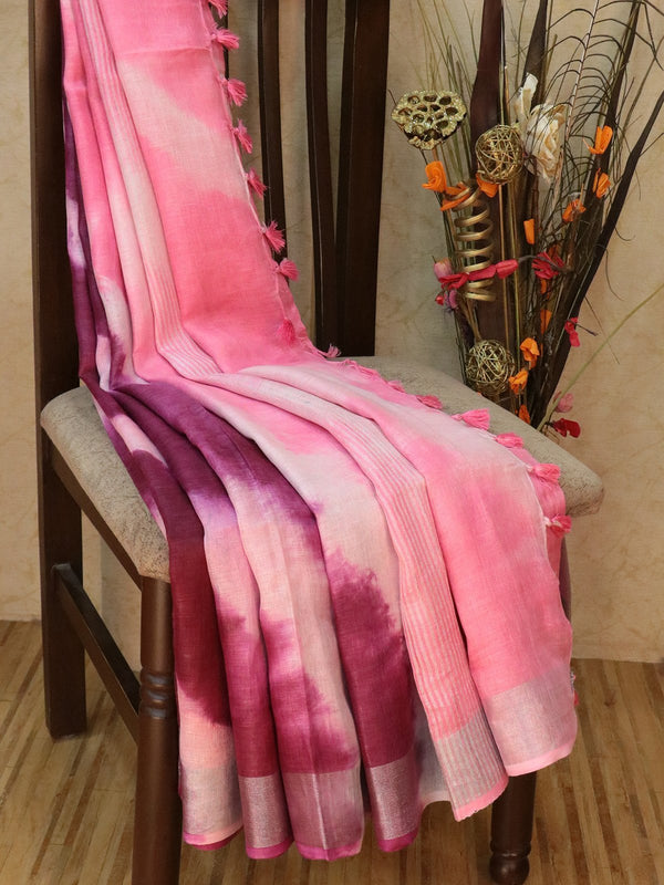 Pure Linen Saree deep purple and pink with tie and die prints and silver zari border