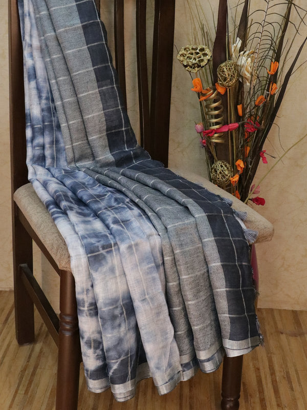 Pure Linen Saree off white and grey checked pattern with tie and die prints and silver zari border
