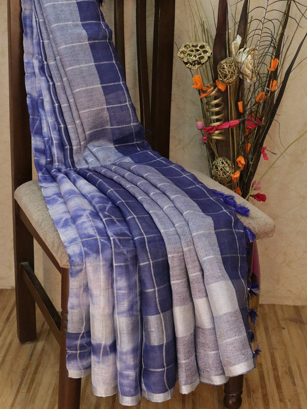 Pure Linen Saree off white and navy blue checked pattern with tie and die prints and silver zari border