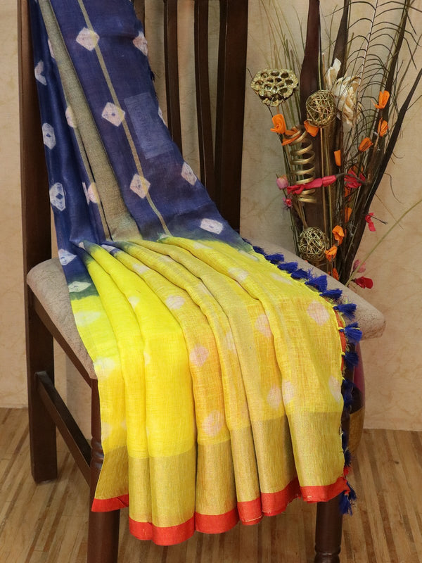 Pure Linen Saree yellow and blue with tie and die prints and golden zari border