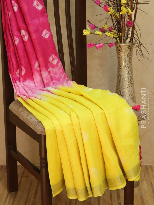 Pure Linen Saree yellow and pink with tie and die prints and golden zari border