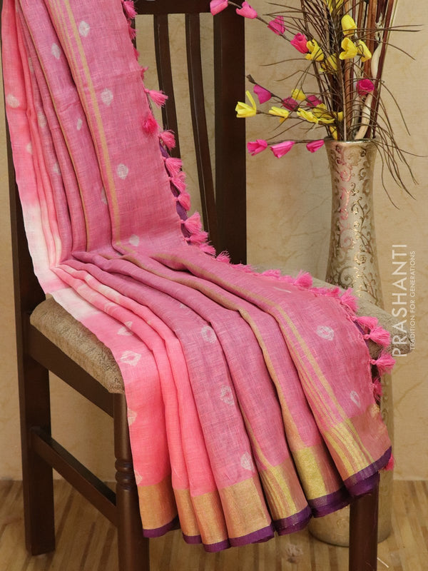 Pure Linen Saree pink and violet with tie and die prints and golden zari border