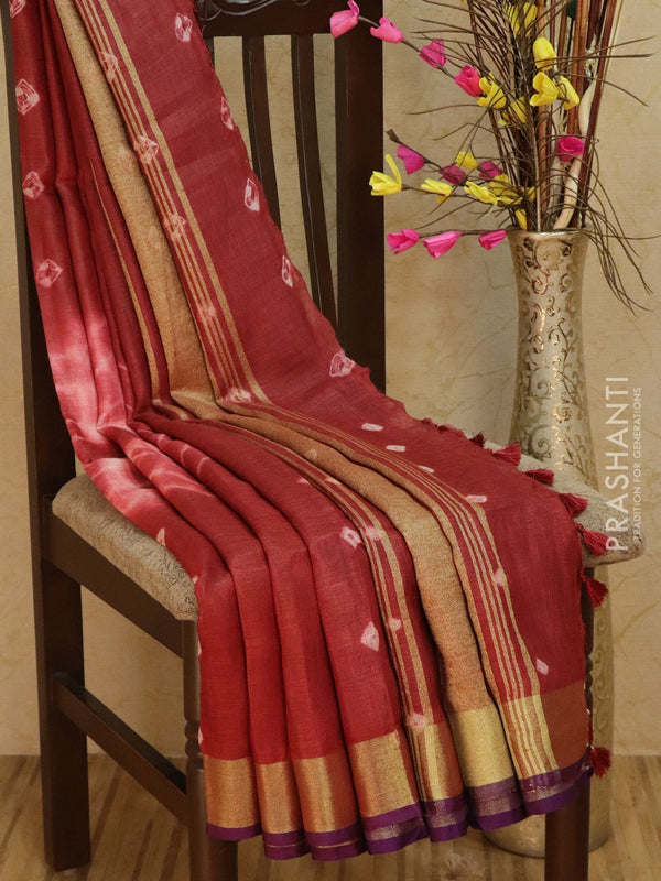 Pure Linen Saree off white and maroon with tie and die prints and golden zari border