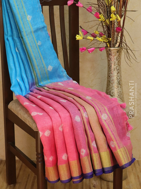 Pure Linen Saree pink and blue with tie and die prints and golden zari border