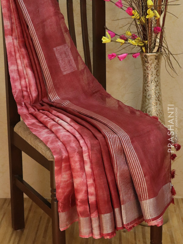 Pure Linen Saree dark brown with tie and die prints and silver zari border