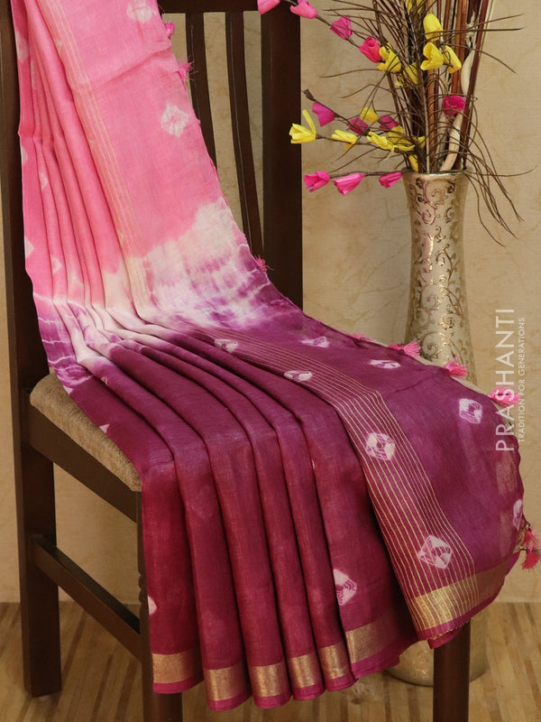 Pure Linen Saree pink and deep purple with tie and die prints and golden zari border