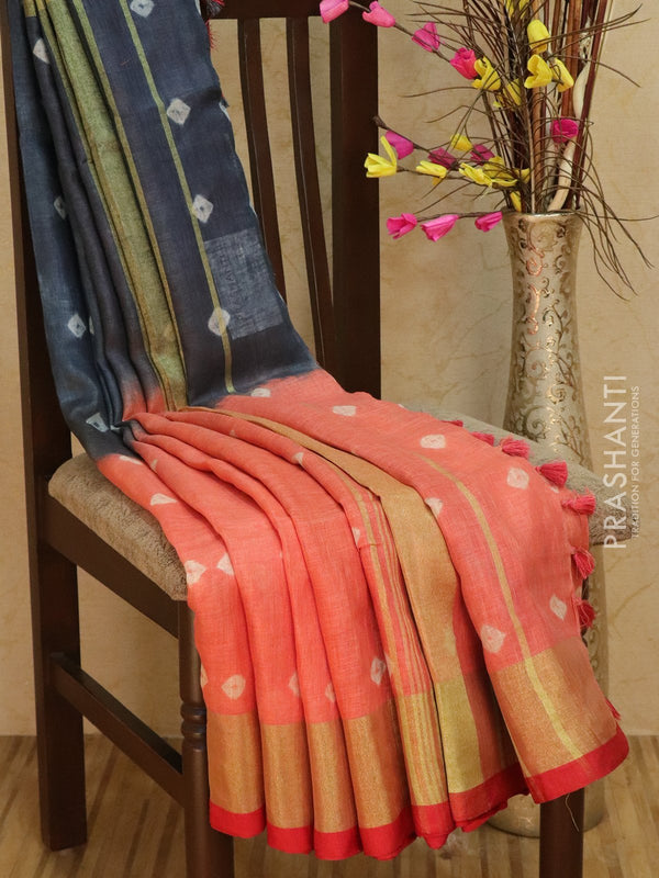 Pure Linen Saree peach and grey with tie and die prints and golden zari border