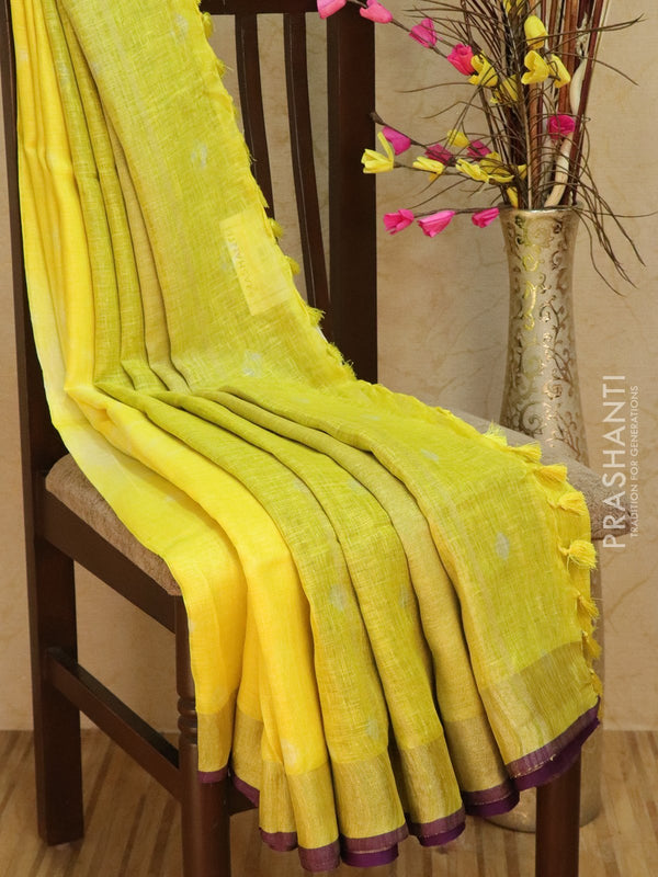 Pure Linen Saree yellow and violet with tie and die prints and golden zari border