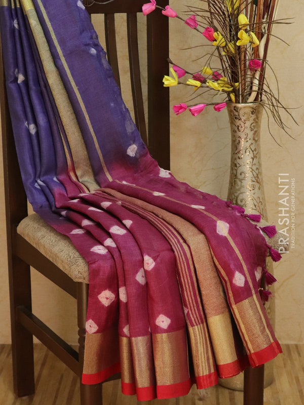 Pure Linen Saree deep purple and red with tie and die prints and golden zari border