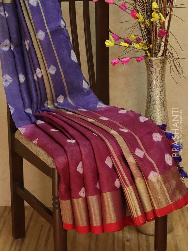 Pure Linen Saree blue and deep purple with tie and die prints and golden zari border