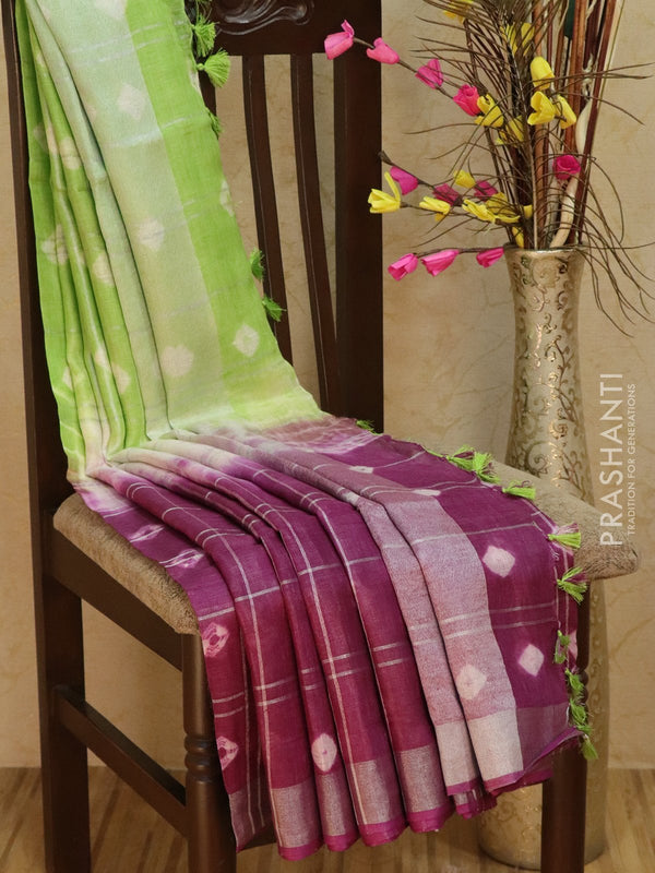 Pure Linen Saree deep purple off white and green checked pattern with tie and die prints and silver zari border