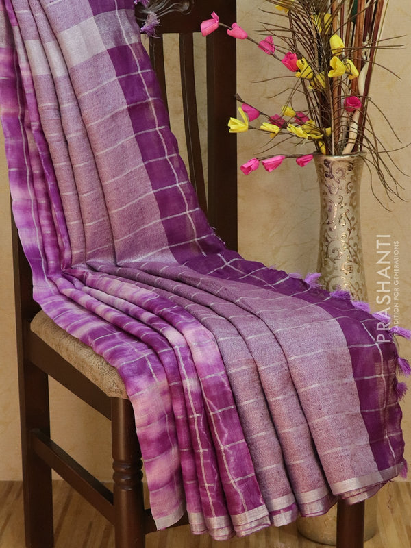 Pure Linen Saree off white and deep violet checked pattern with tie and die prints and silver zari border