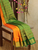 Silk Cotton Jacquard Saree orange and green with self emboss pattern and rich zari border