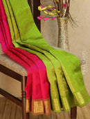 Silk Cotton Jacquard Saree pink and green with self emboss pattern and rich zari border