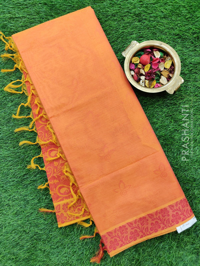 Coimbatore cotton saree peachish pink and dark pink with thread emboss contrast pallu and blouse