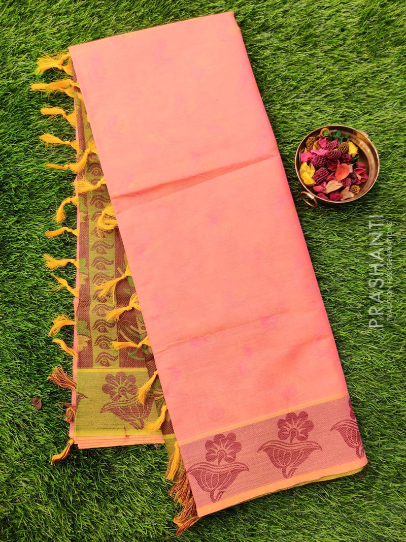 Coimbatore cotton saree peach pink and green with thread emboss contrast pallu and blouse