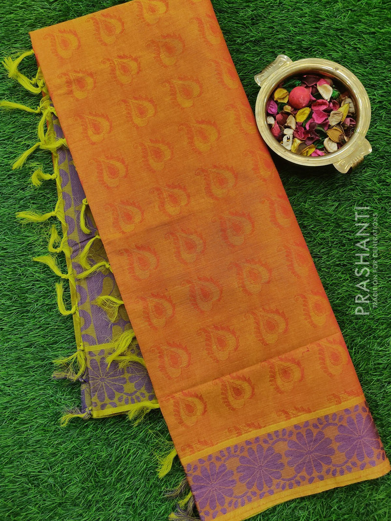 Coimbatore cotton saree mustard and lavender with thread emboss contrast pallu and blouse