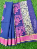 South Kota Saree blue and pink with thread woven buttas and rettapet zari border