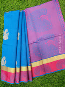 South Kota Saree cs blue and pink with thread and zari woven buttas and border