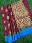 South Kota Saree maroon and cs blue with zari checks and buttas with temple style border
