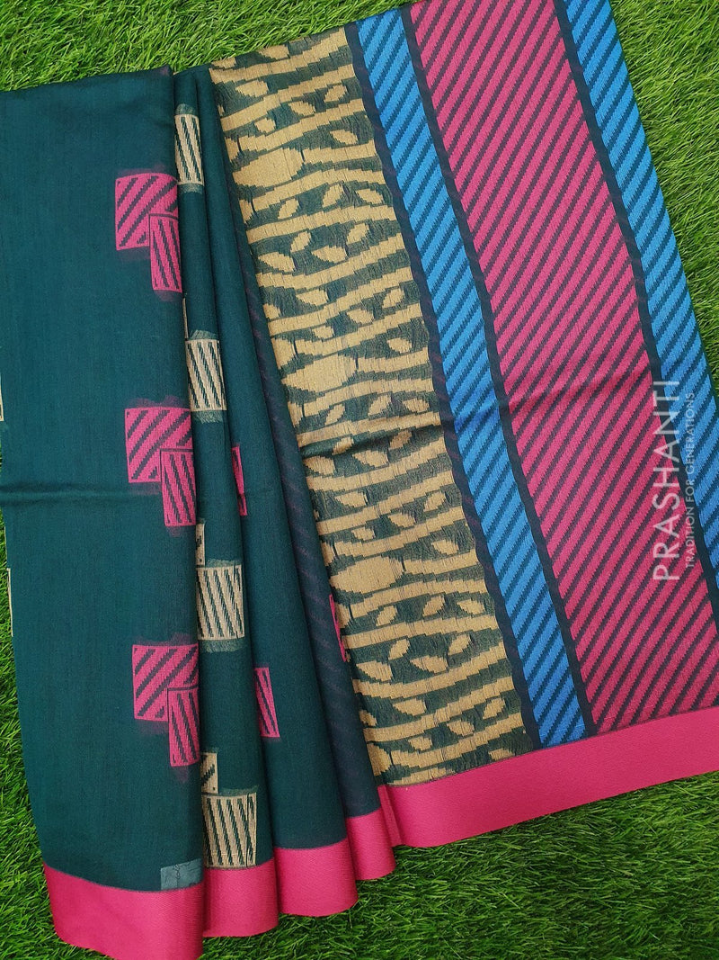 South Kota Saree dark green and pink with thread woven buttas and woven border