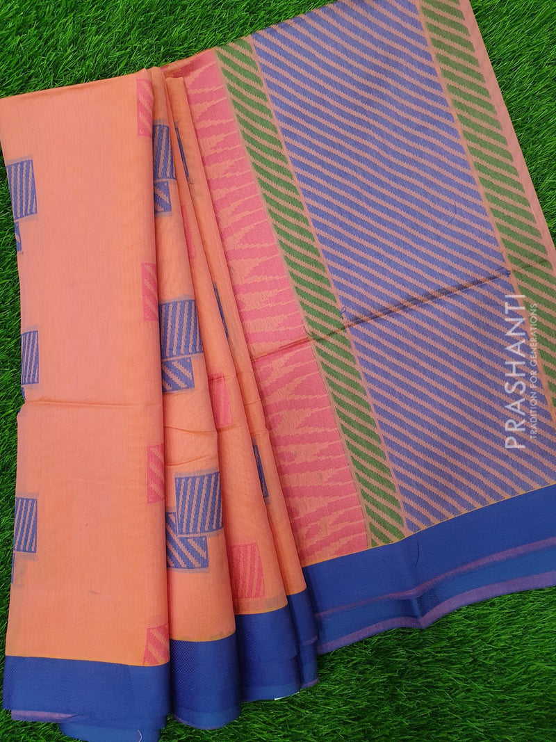 South Kota Saree peach pink and blue with thread woven buttas and woven border