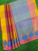 South Kota Saree maroon yellow and pink checked pattern with thread and zari woven buttas with piping border