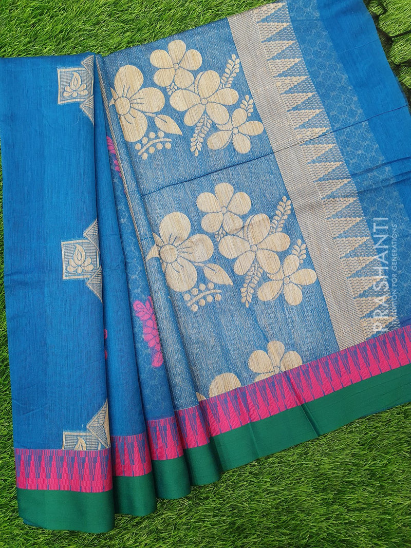 South Kota Saree peacock blue and green with thread woven buttas and woven border