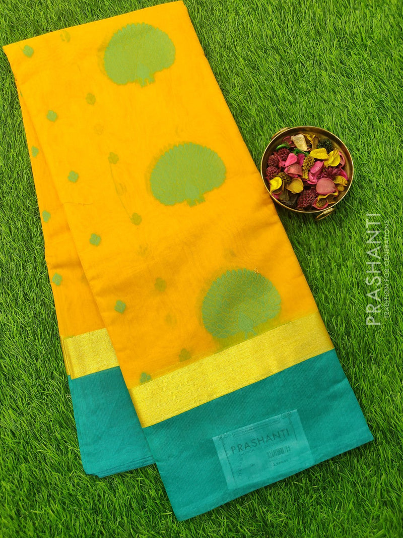 South Kota Saree yellow and peacock green with thread woven buttas and zari border