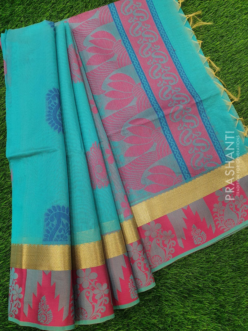 South Kota Saree light blue with thread woven floral buttas and woven border