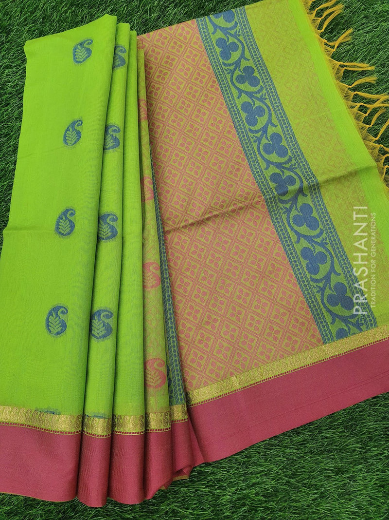 South Kota Saree green and pink with thread woven buttas and woven border