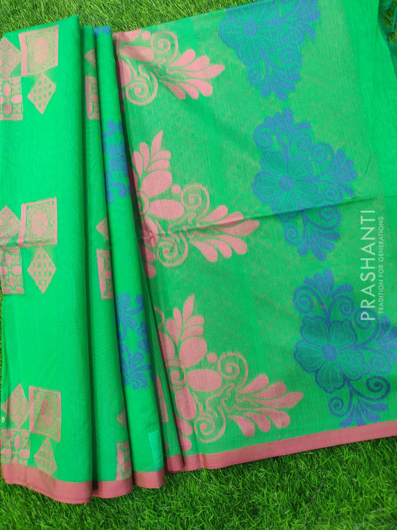 South Kota Saree green and pink with thread woven buttas and border