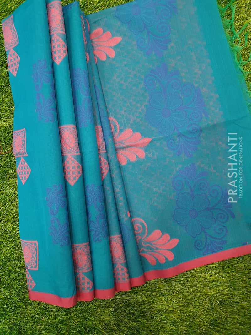 South Kota Saree cs blue and purple with thread woven buttas and border