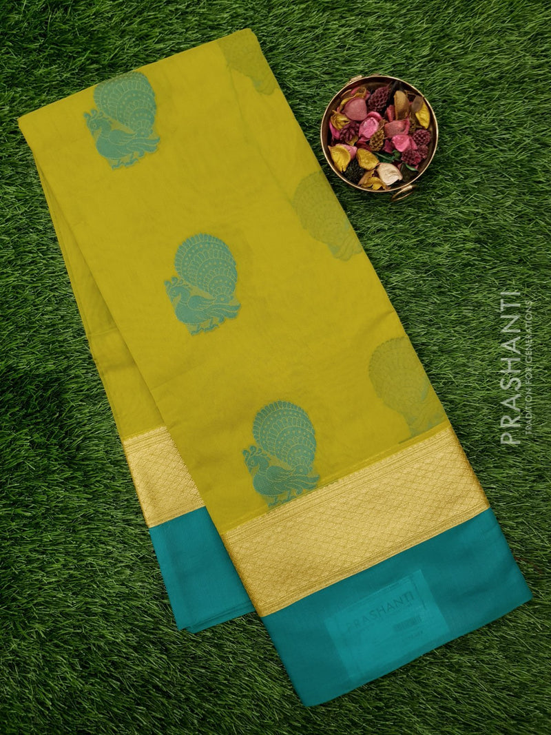South Kota Saree green and blue with thread woven butta and plain border