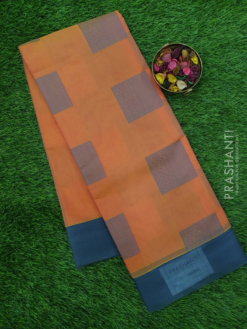 South Kota Saree dual shade of peach and pink with thread woven butta and plain border