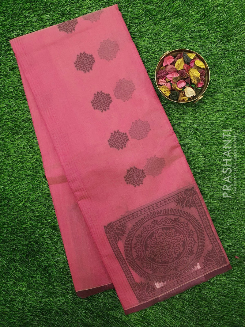 South Kota Saree pink with thread woven pattern in zariless style