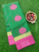 South Kota Saree green and pink simple zari border and thread buttas